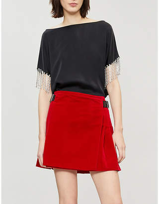 Christopher Kane Crystal-embellished velvet mini skirt