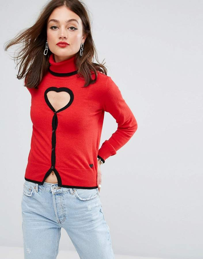 Love Moschino Cyberlove Cashmere Wool Mix High Neck Sweater