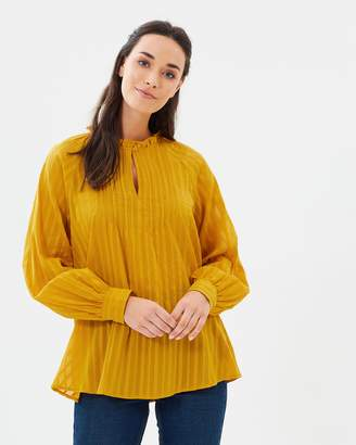 French Connection Moala Cotton Flared Top
