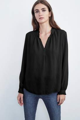 Velvet by Graham & Spencer PILA LONG SLEEVE RUFFLE CHALLIS BLOUSE