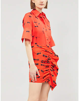 Victoria Beckham Victoria Sunglasses-print satin-twill shirt