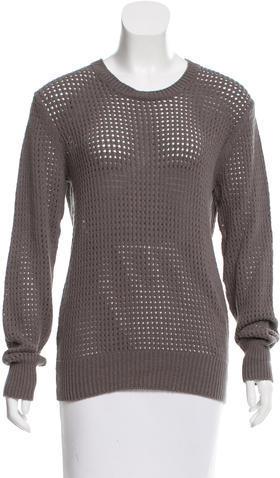 Alexander WangT by Alexander Wang Open Knit Crew Neck Sweater