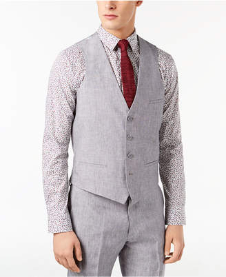 Bar III Men Slim-Fit Light Gray Chambray Linen Suit Vest