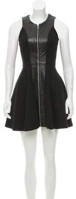 Nicholas Leather-Accented Mini Dress