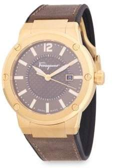 Salvatore Ferragamo Classic Stainless Steel and Leather Strap Watch