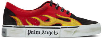 Palm Angels Black and Red Distressed Flame Sneakers