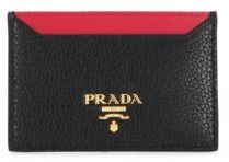prada Prada Pebble Leather Two-Tone Credit Card Holder