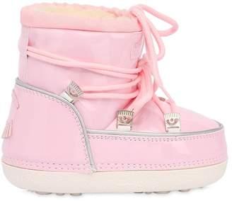 Chiara Ferragni Faux Patent Snow Boots