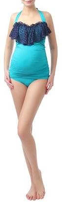 Women's Kimi And Kai 'Ruby Crochet' Maternity Two-Piece Tankini Swimsuit $68 thestylecure.com