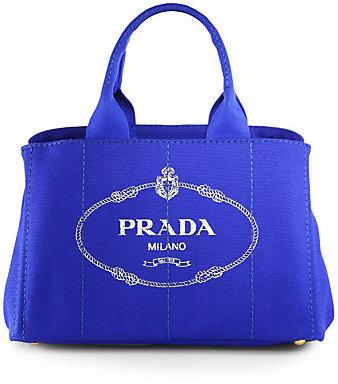Prada Logo Printed Medium Canvas Tote