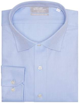 Hickey Freeman Silver Label Textured Blue Contemporary Fit Dress Shirt