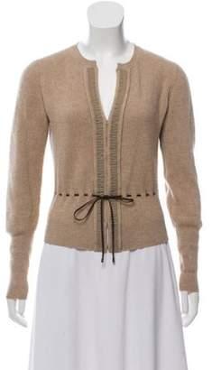 Brunello Cucinelli Long Sleeve Cashmere Cardigan Tan Long Sleeve Cashmere Cardigan