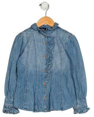 Ralph Lauren Girls' Denim Button-Up Top
