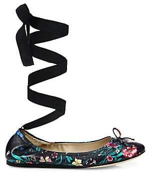 Saks Fifth Avenue Women's Floral-Print Leather Ankle-Wrap Ballet Flats