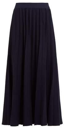 Gabriela Hearst Mitford Pleated Wool Blend Midi Skirt - Womens - Navy