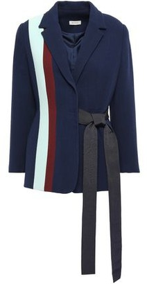 DELPOZO Grosgrain-trimmed Striped Wool-crepe Wrap Blazer