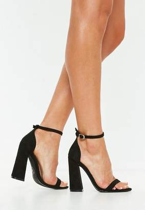 Missguided Faux Suede Flared Block Barely There Heels