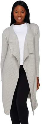 Halston H By H by Cascade Front Long Cardigan with Texture Stitching