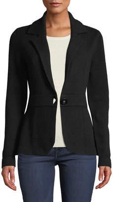 Neiman Marcus Cashmere One-Button Blazer, Black