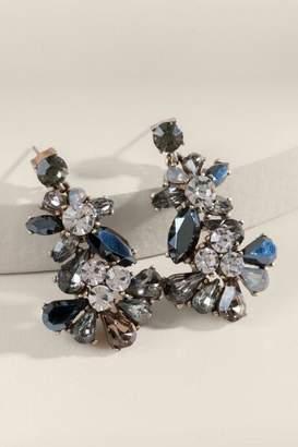 francesca's Annabelle Glass Drop Chandelier Earrings - Gray