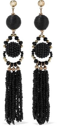 Iris & Ink Margrethe 18-Karat Gold-Plated Sterling Silver Beaded And Cord Earrings