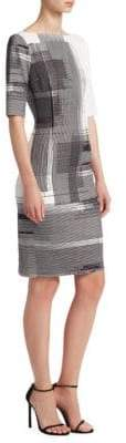 Teri Jon by Rickie Freeman Geometric-Print Scuba Dress
