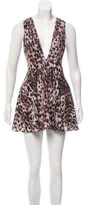 Naven NBD x Twins Plunging-V Animal Print Dress w/ Tags