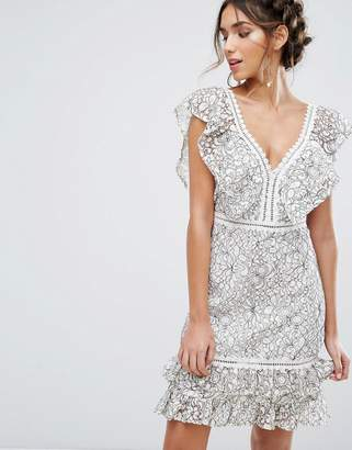 Endless Rose Two Tone Lace Mini Dress With Frill Detail $136 thestylecure.com