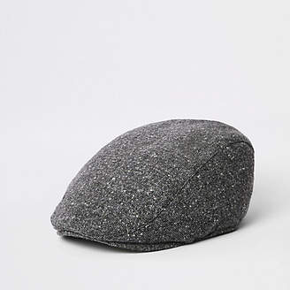 River Island Grey quilted flat cap