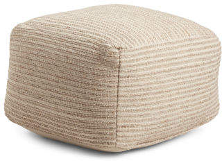 Made In India 20x14 Woven Stripe Wool Pouf