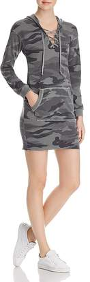 Splendid Lace-Up Camo Sweatshirt Dress