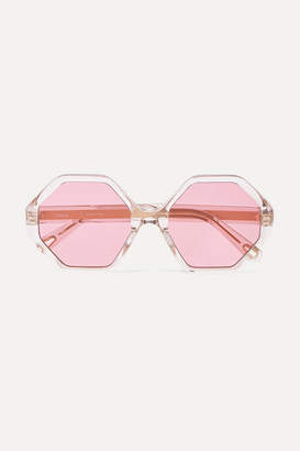 Chloé Willow Hexagon-frame Acetate And Gold-tone Sunglasses - Pink