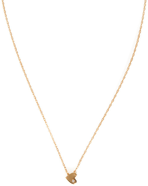Jennifer Zeuner Jewelry XS Horizontal Heart Necklace with Diamond in Gold