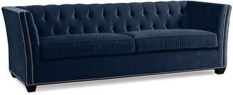 One Kings Lane Elijah Tuxedo Sofa - Indigo Velvet
