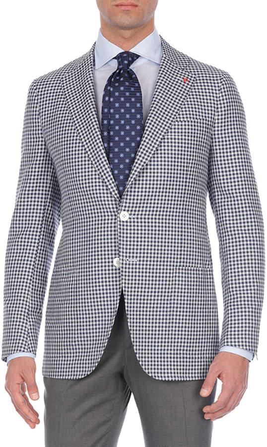 Isaia Check Silk/Cashmere/Linen Two-Button Blazer