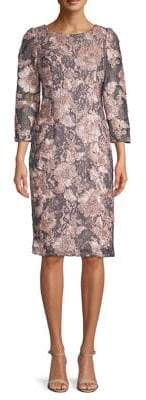 Adrianna Papell Boat-Neck Floral Embroidered Cocktail Dress