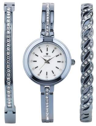 Croton Ladies IP Blue Watch Set with Two Coordinating Bracelets