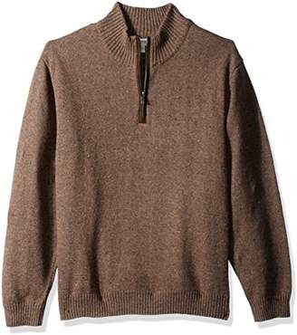Haggar Men's Solid 1/4 Zip Sweater With Faux Suede Elbow Patches