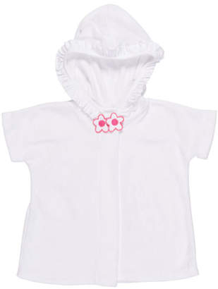 Florence Eiseman Knitted Terry Cloth Hooded Swim Coverup, White/Pink, Size 2-4