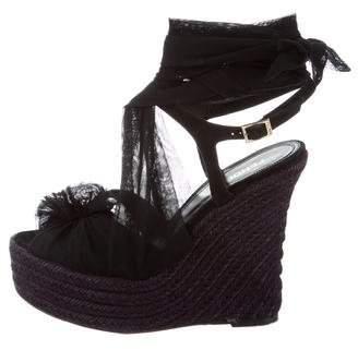 Fendi Mesh Lace-Up Platform Sandals