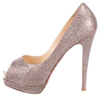 Christian Louboutin Lady Peep Glitter Pumps