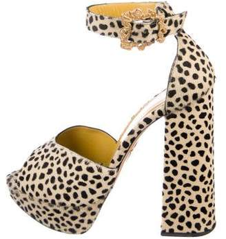 Charlotte Olympia Ponyhair Peep-Toe Block Heels