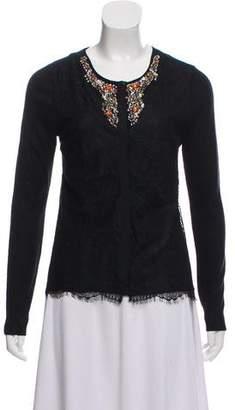 Magaschoni Embellished Long Sleeve Cardigan