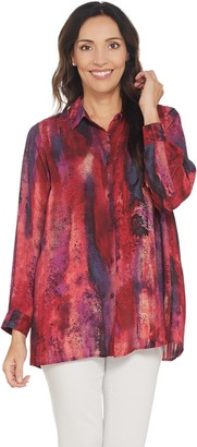 Belle By Kim Gravel Belle by Kim Gravel Pleated Back Watercolor Print Blouse