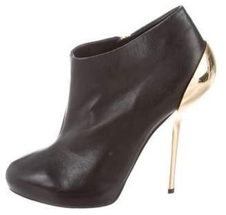 Giuseppe Zanotti Leather Round-Toe Booties