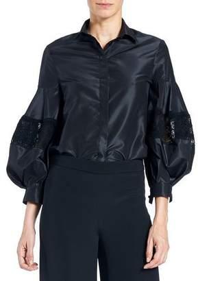 Carolina Herrera Button-Front Full-Sleeve Taffeta Blouse with Lace Inset