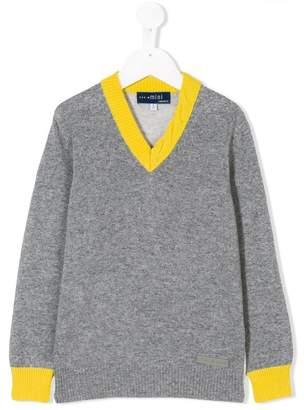 Simonetta contrast v-neck collar sweater