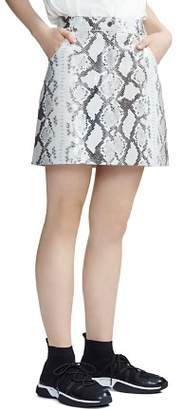 Maje Jupita Snakeskin Print Leather Skirt