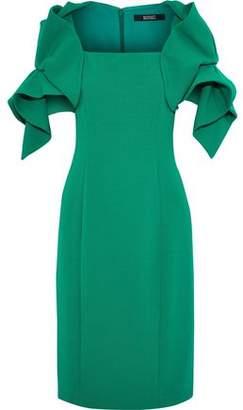 Badgley Mischka Ruffled Crepe Dress