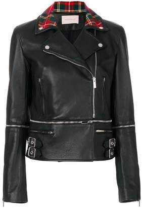 Christopher Kane leather tartan zip biker